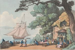 Sailors telling stories by the sea